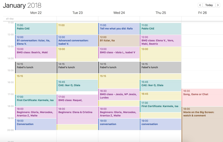 Programa de clases y actividades para la próxima semana