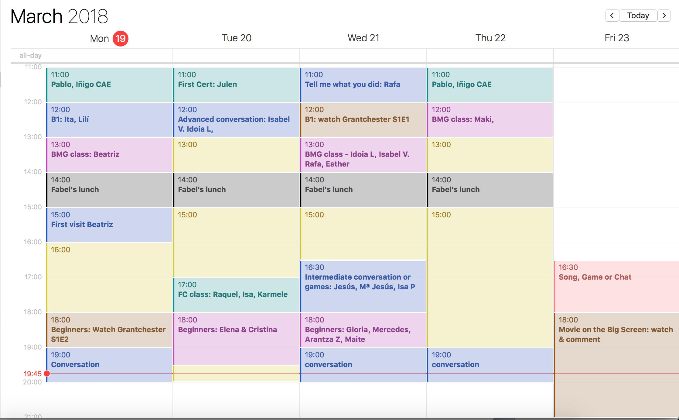 Programa de clases y actividades para esta semana